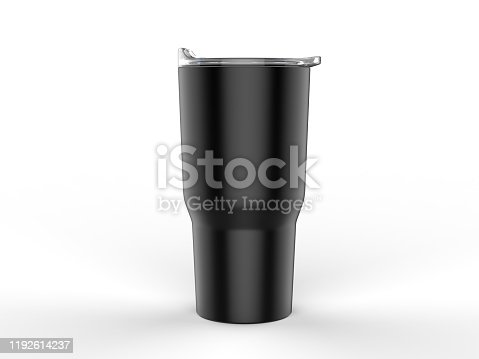 Blank Stainless Steel Tumbler with Lid for branding mock up.