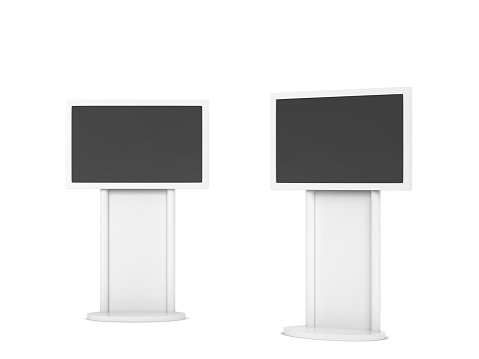Blank stand with plasma mockup. 3d illustration isolated on white background. Interactive display, information kiosk