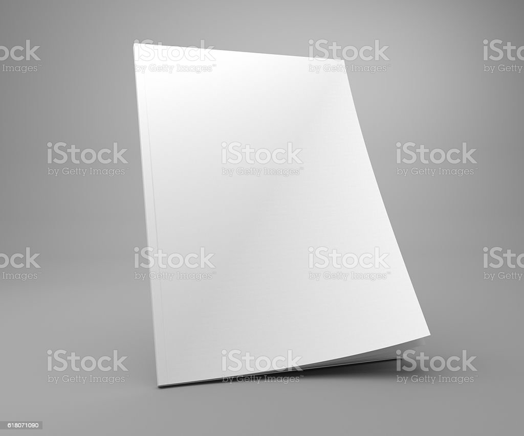 Blank standing 3D illustration cover magazine mockup. stock photo