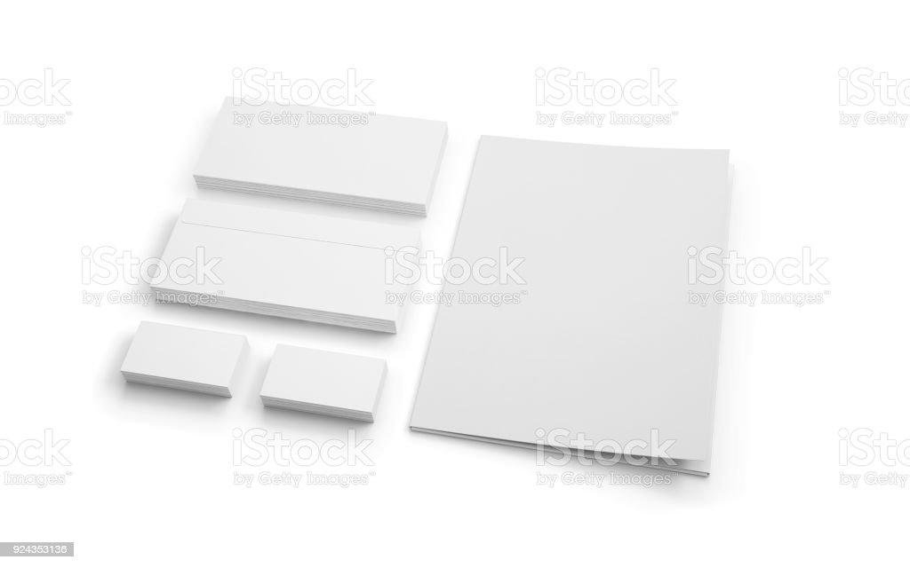 Leeres Briefpapier Isoliert Auf Weiss Ordner Umschläge Und