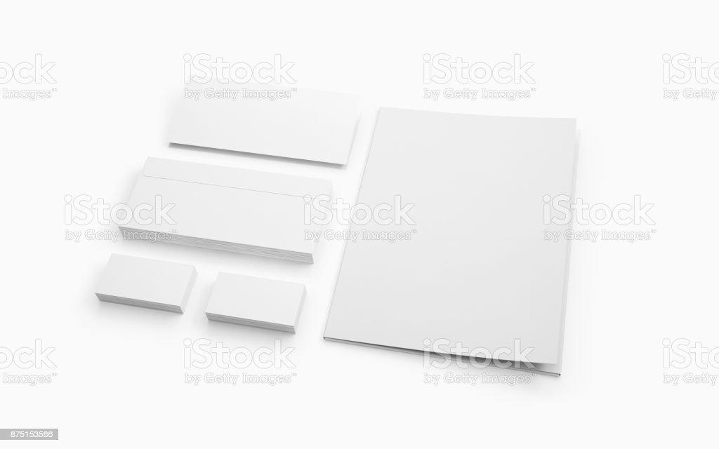 Blank stationery isolated on white. stock photo