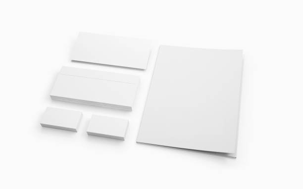blank stationery isolated on white. - stationary stock photos and pictures