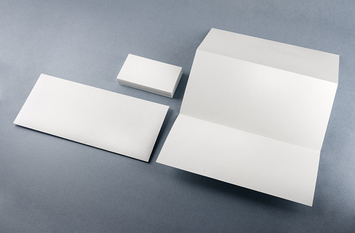 Blank stationery set on a table. Template for branding identity. Clipping path.
