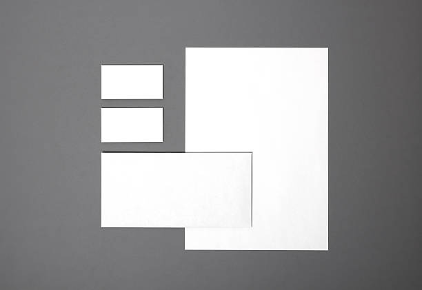 Blank stationery set Blank stationery still life with business cards, paper, envelope. Template for branding identity. For graphic designers presentations and portfolios. office equipment stock pictures, royalty-free photos & images