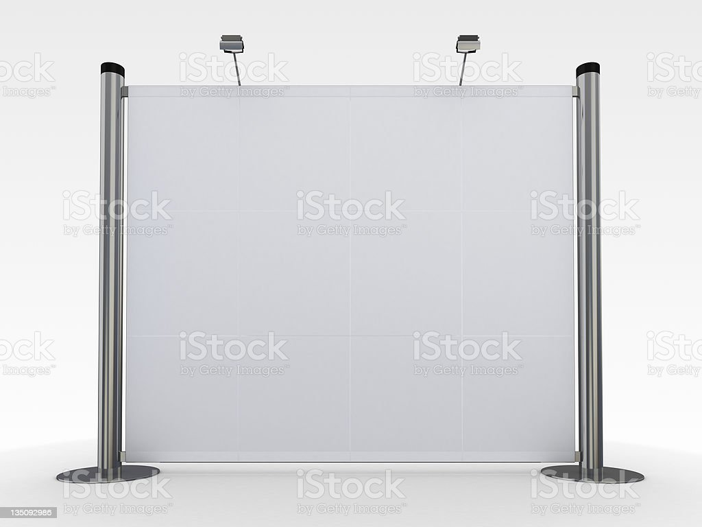 Blank steel display stand with lighting on white background royalty-free stock photo