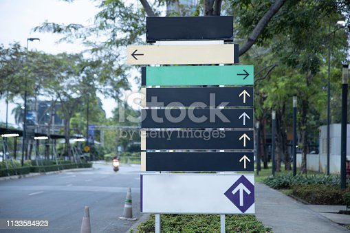 Blank steel signpost or guide post with direction arrows.