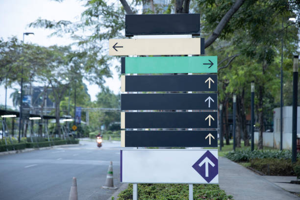 blank steel signpost or guide post with direction arrows. - directional sign stock photos and pictures
