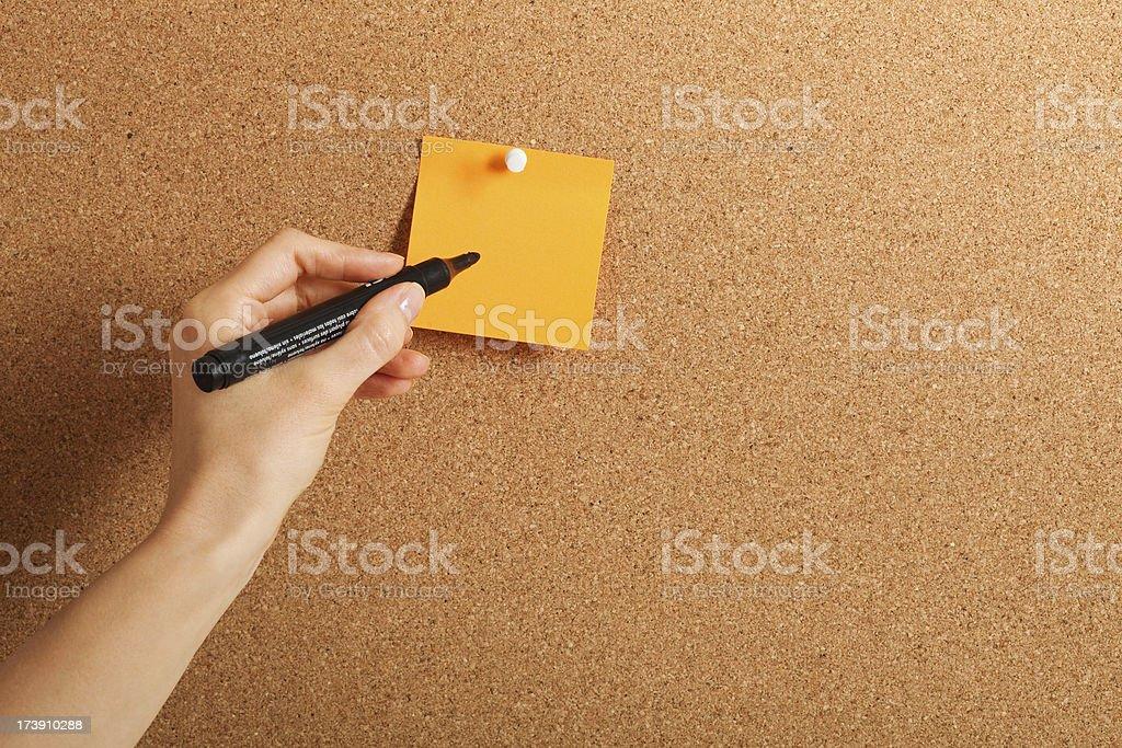 Blank sticker on cork board royalty-free stock photo