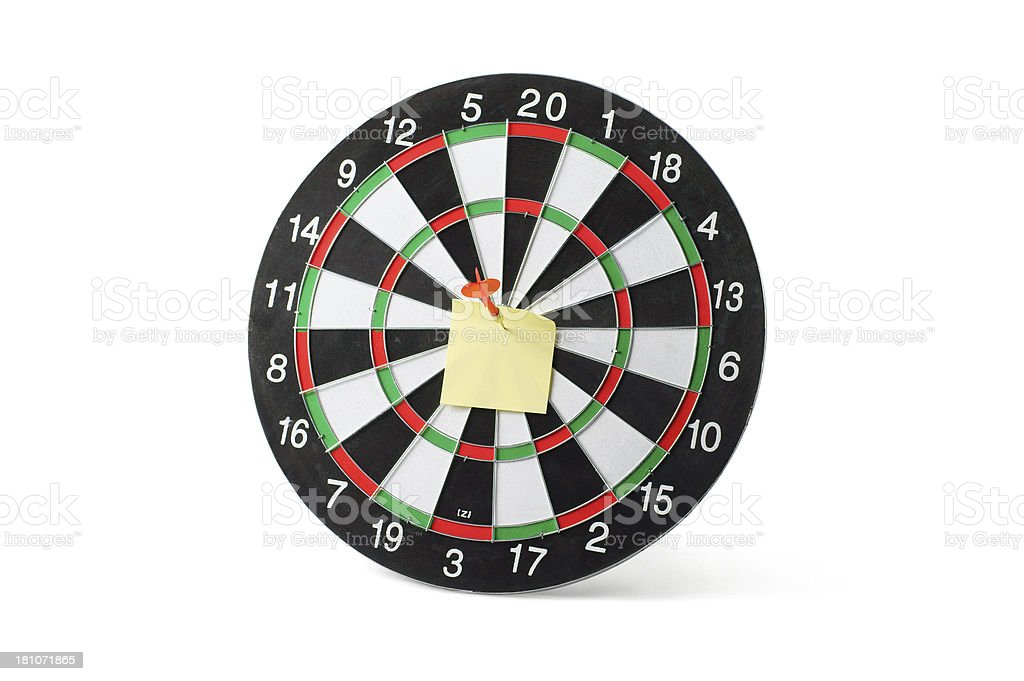 Blank Sticky Note on Dartboard royalty-free stock photo