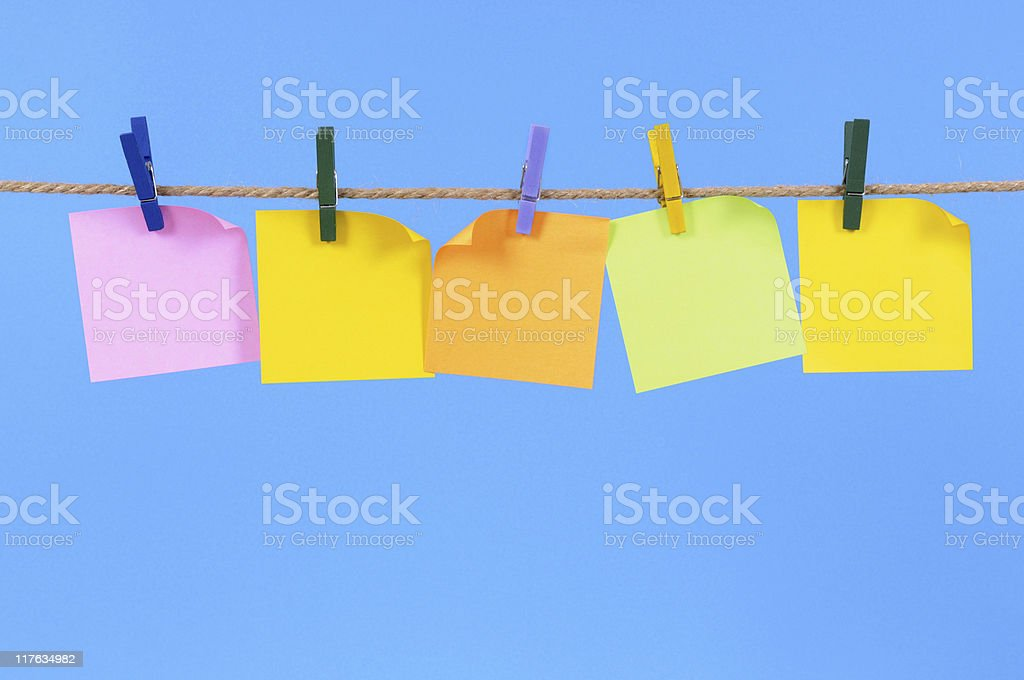 Blank sticky notes on a rope royalty-free stock photo