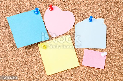istock Blank sticky notes pinned 1201647644