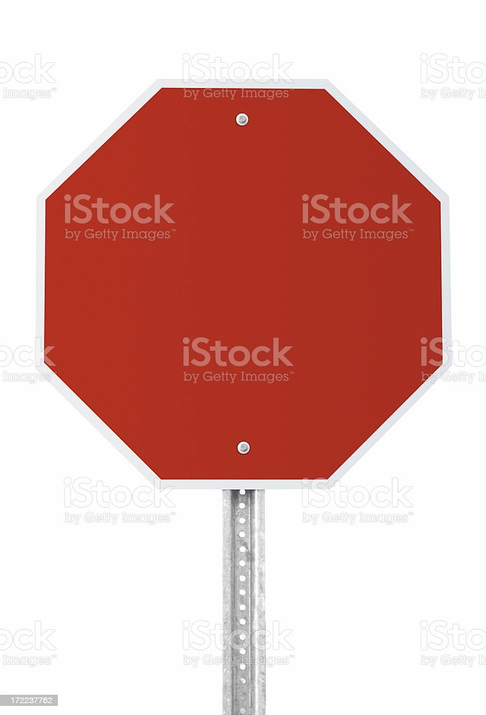 Blank Stop Sign with clipping path stock photo