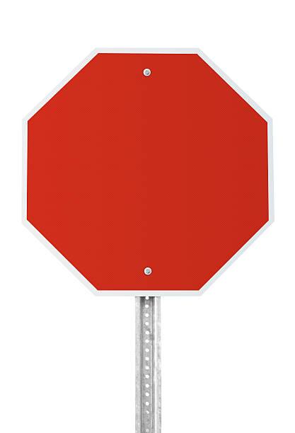 señal de stop blanco con trazado de recorte - stop sign fotografías e imágenes de stock