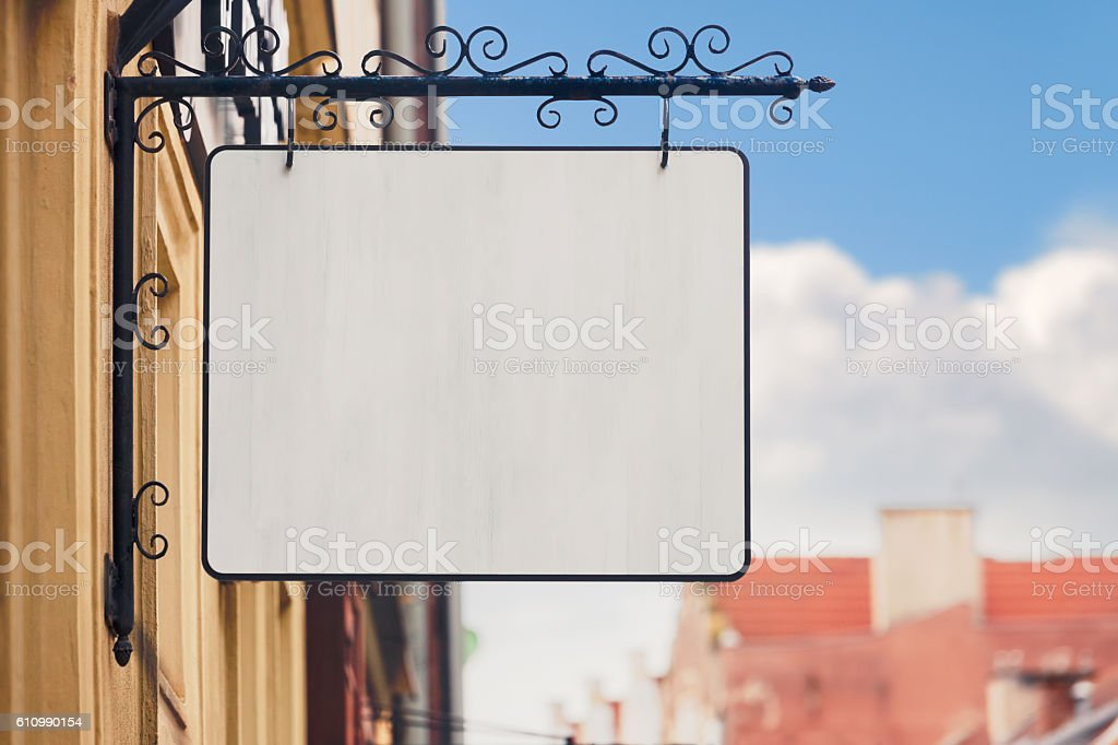 Blank store sign stock photo