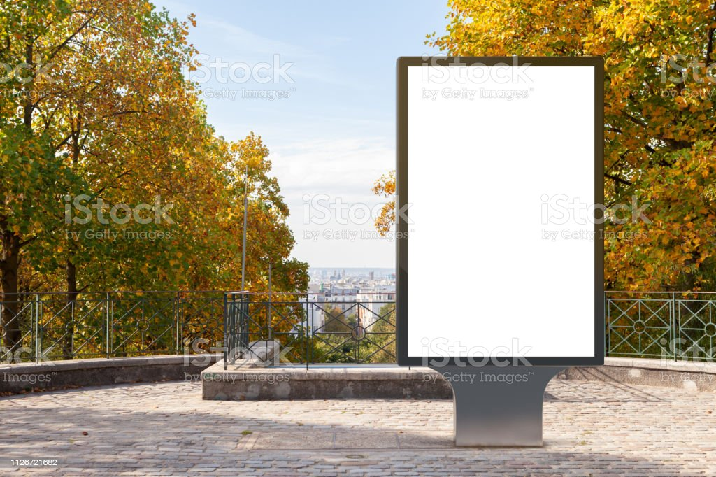 Blank street billboard poster stand in the park. 3d illustration.