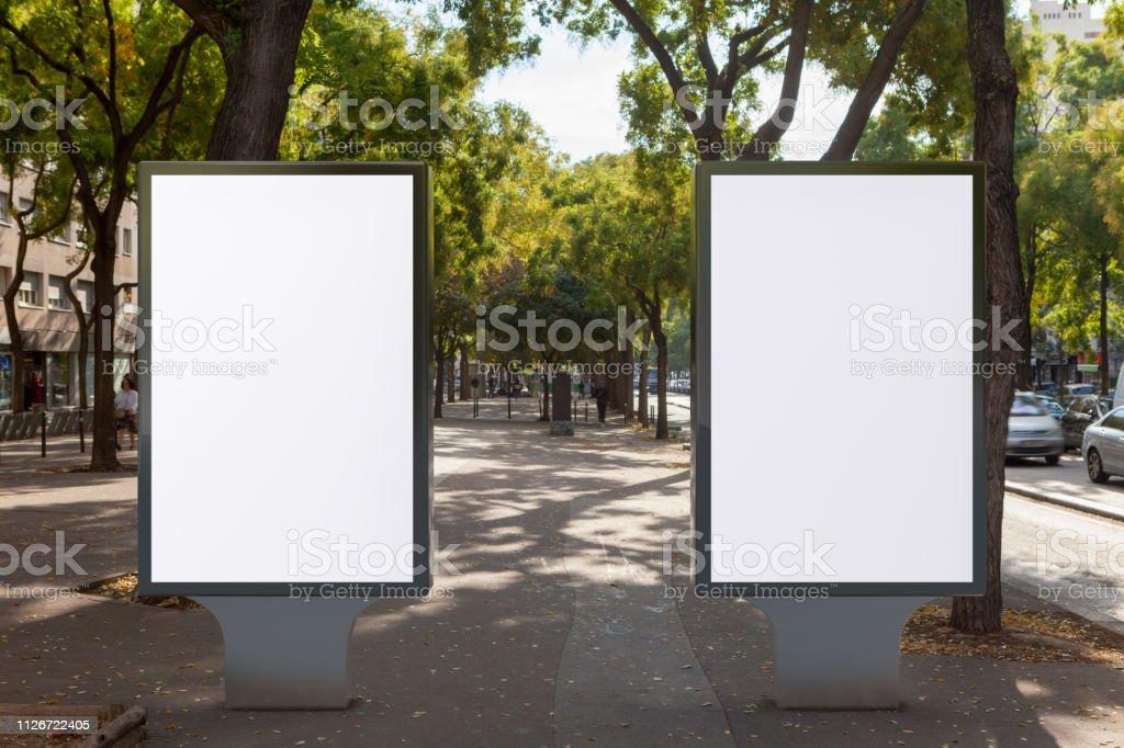 Blank street billboard poster stand. 3d illustration.