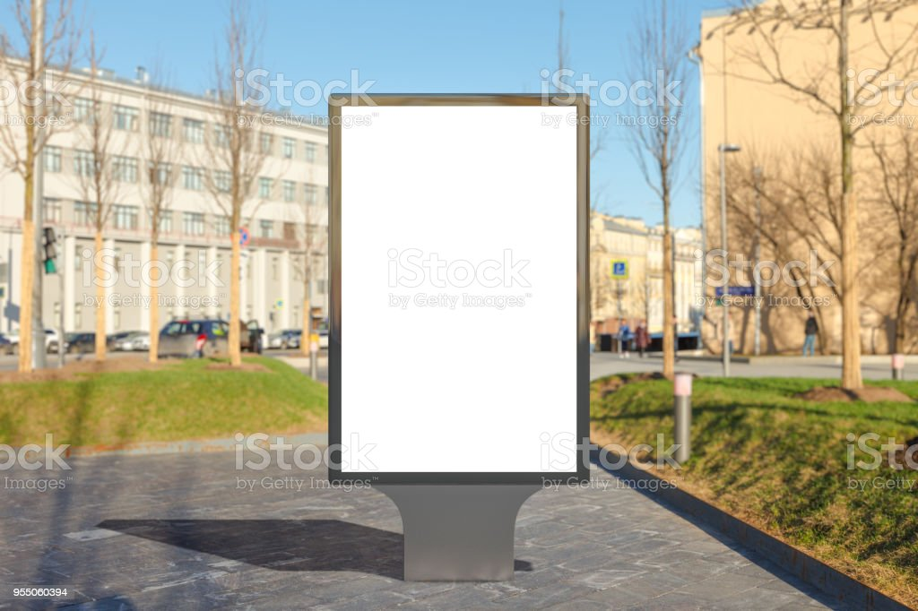 Blank street billboard poster stand on sidewalk