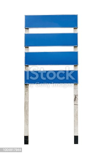 istock Blank Street Sign Street signs - four blank blue metal panels isolated on white background with Clipping Path 1004817944