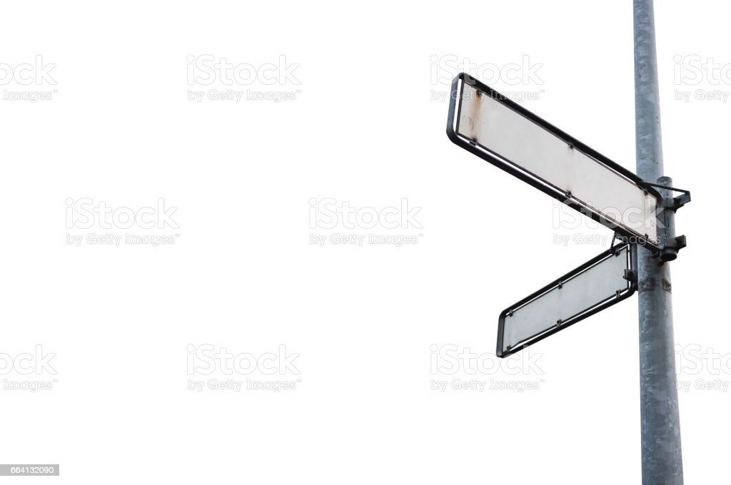 Blank street signboard, isolated on white background with copy space foto stock royalty-free