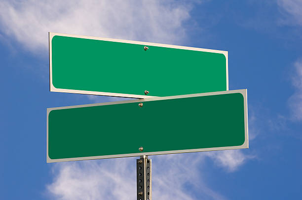 blank street signs (w/ 3 clipping paths) - road signs stock photos and pictures