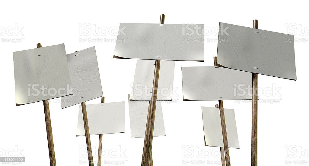 Blank Strikers Picket Plackards stock photo