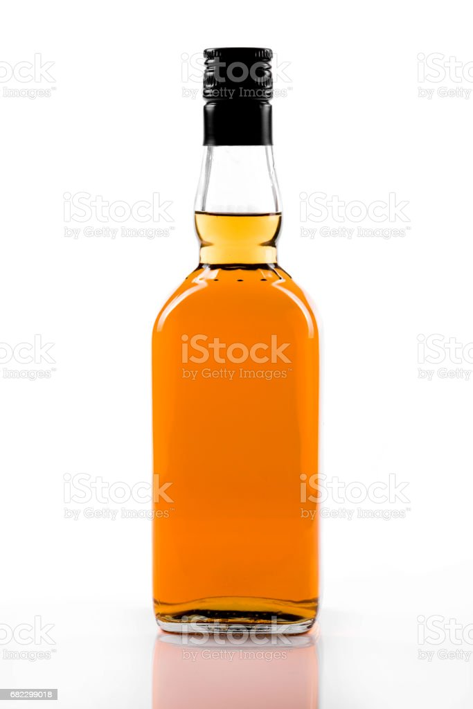 blank strong alcohol bottle isolated on white background stock photo