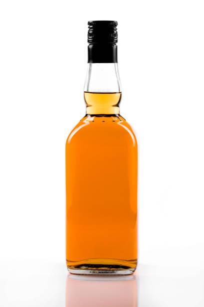 blank strong alcohol bottle isolated on white background stock photo