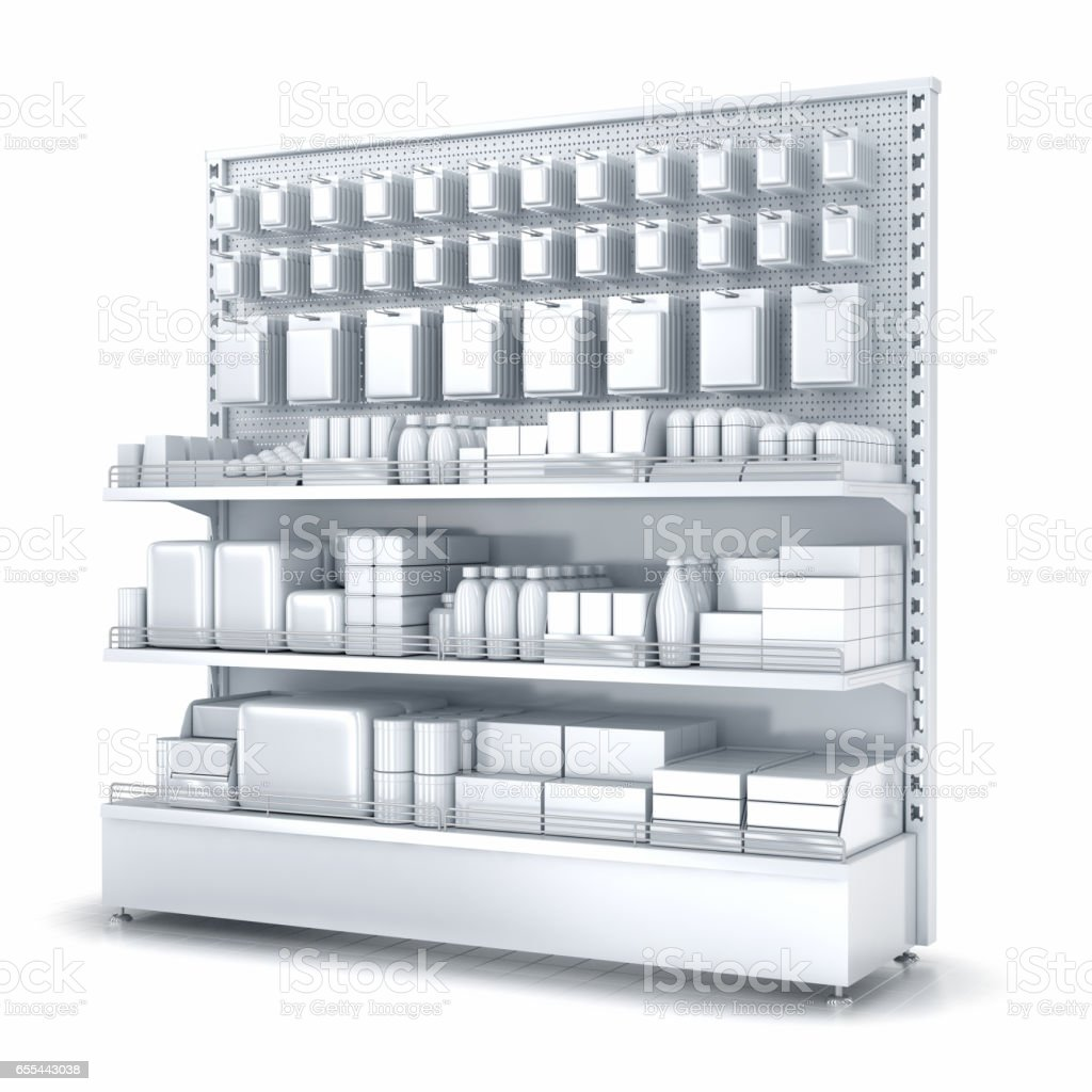 Blank supermarket products on shelves and pegboard. Front view stock photo