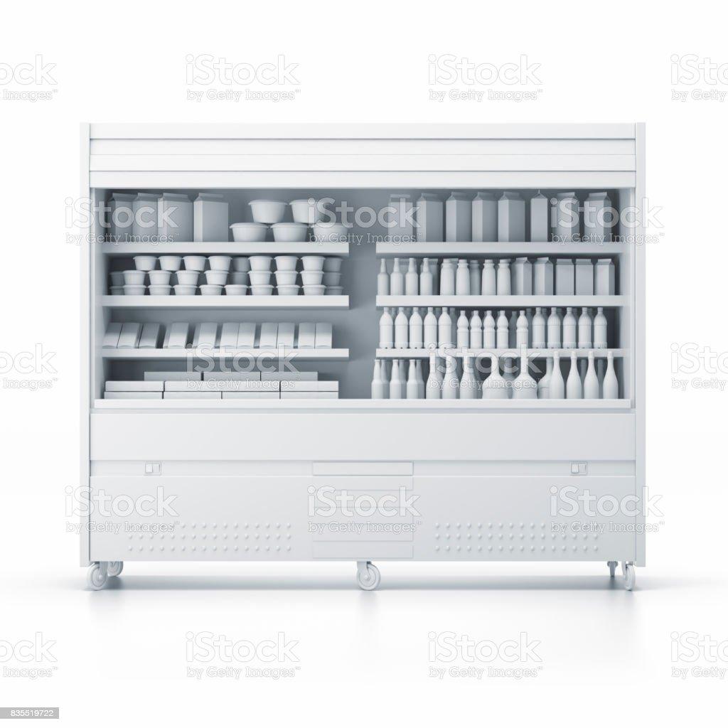 Productos de supermercado en blanco en los estantes y perforado - foto de stock
