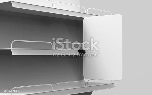 istock Blank Supermarket Shelf Banner Display for design presentation. 3d render illustration. 951679900