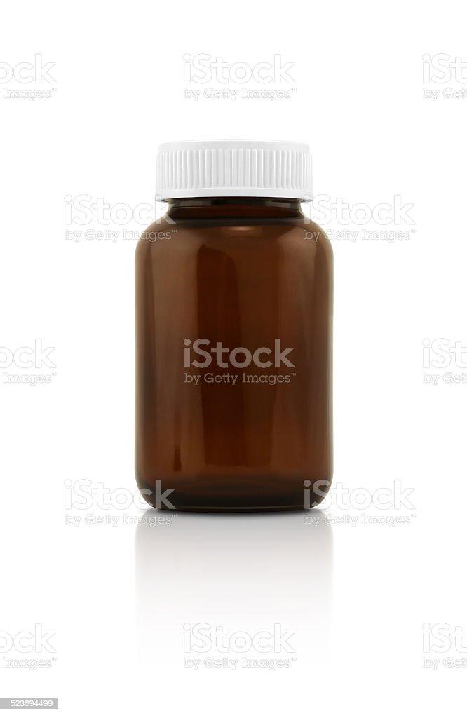 blank supplement bottle isolated on white background stock photo