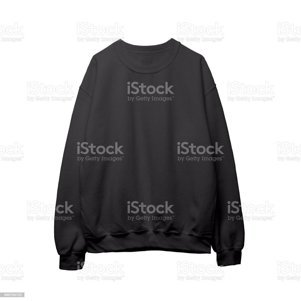 Blank sweatshirt black color mock up template front stock photo