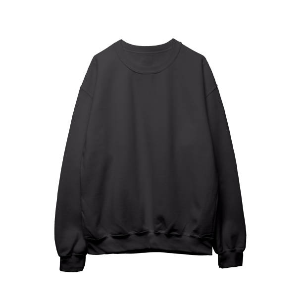 blank sweatshirt black color mock up template front - sweatshirt stock photos and pictures