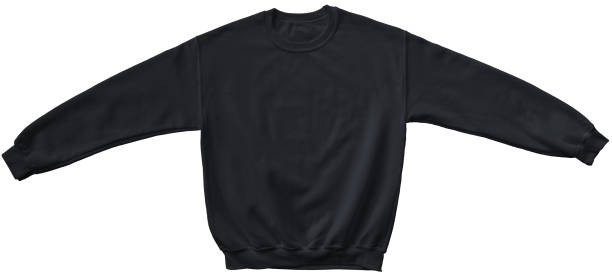 blank sweatshirt black color mock up template - sweatshirt stock photos and pictures