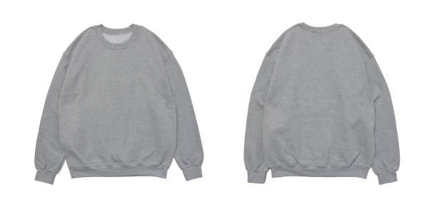 blank sweatshirt color black template front and grey view - sweatshirt stock photos and pictures