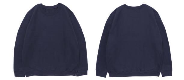 leere sweatshirt farbe marine vorlage vorder- und rückansicht - fleecepullover stock-fotos und bilder