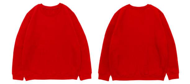 leere sweatshirt farbe rot vorlage vorder- und rückansicht - fleecepullover stock-fotos und bilder