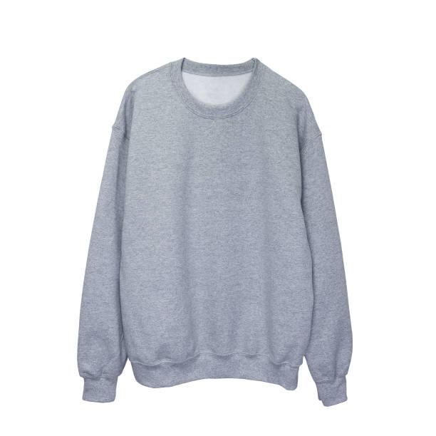 blank sweatshirt grey color mock up template front - sweatshirt stock photos and pictures