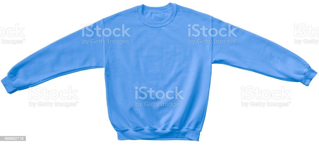 Blank sweatshirt light blue color mock up template stock photo