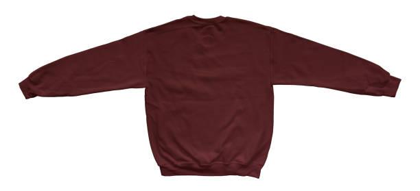 leere sweatshirt kastanienbrauner farbe mock-up vorlage rückansicht - fleecepullover stock-fotos und bilder