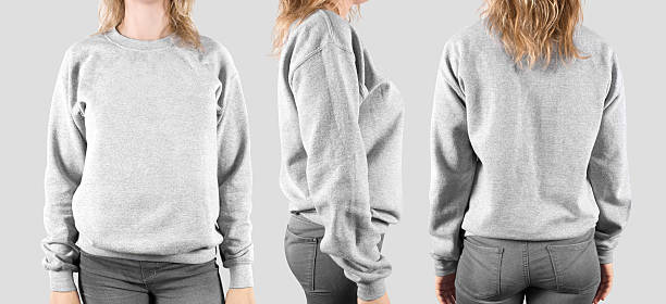 blank sweatshirt mock up, front, back and profile, isolated. - pullover vorlage stock-fotos und bilder