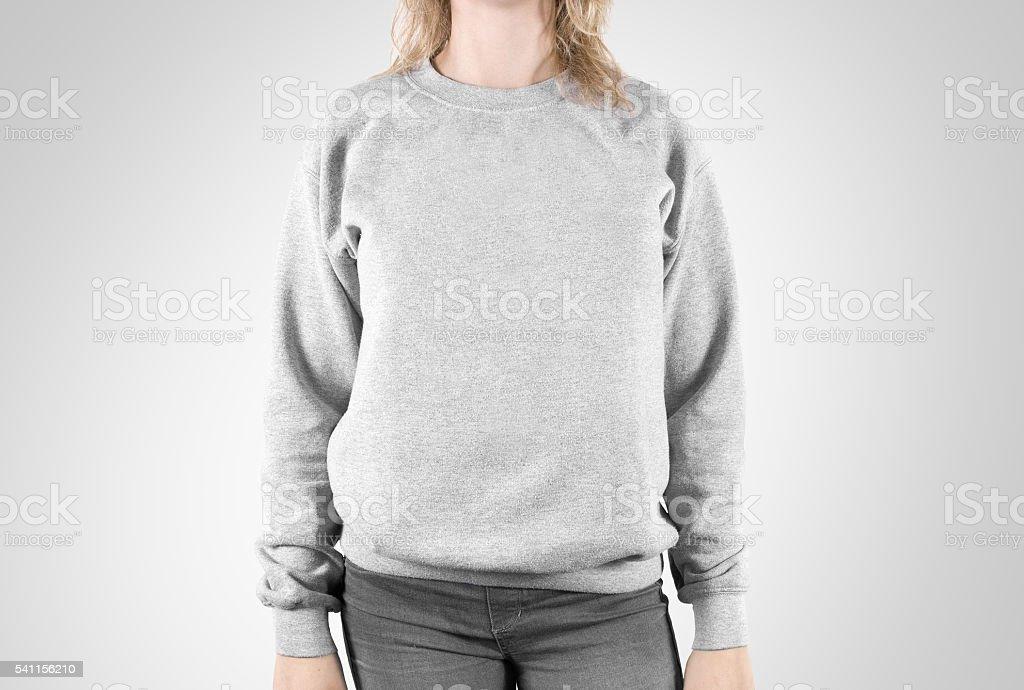 Blank sweatshirt mock up isolated. Female wear plain hoodie mockup. - foto de acervo