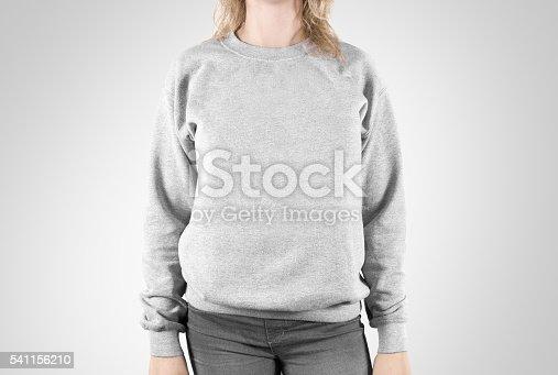 Blank Sweatshirt Mock Up Isolated Female Wear Plain Hoodie