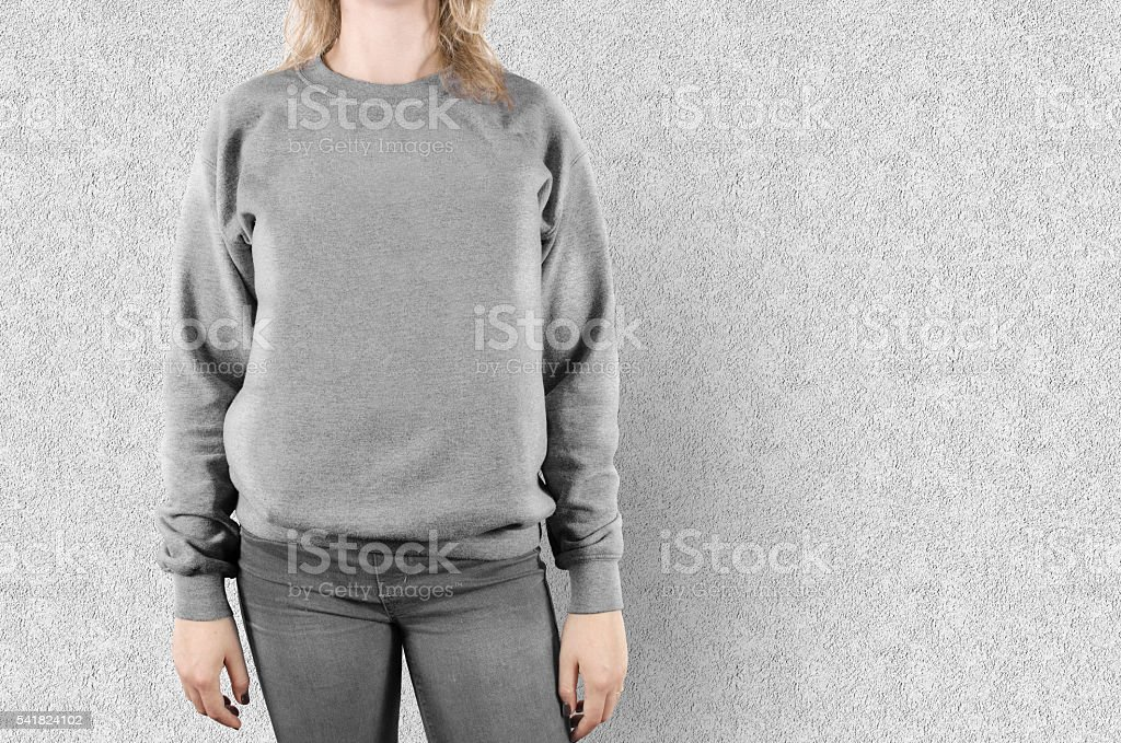 Blank sweatshirt mock up isolated. Female wear plain hoodie mockup. stock photo