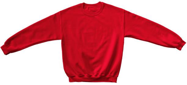 mock-up vorlage auf leere sweatshirt rot farbe - fleecepullover stock-fotos und bilder