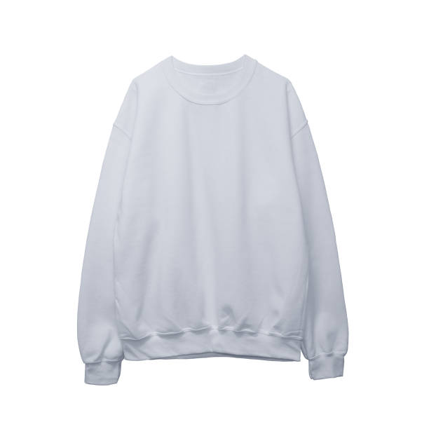 blank sweatshirt white color mock up template front - sweatshirt stock photos and pictures