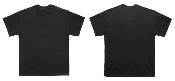 blank t shirt color black template front and back view - t shirt stock photos and pictures