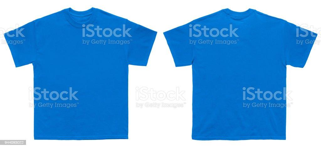 Blanc T Shirt couleur bleu royal modèle avant et vue arrière - Photo