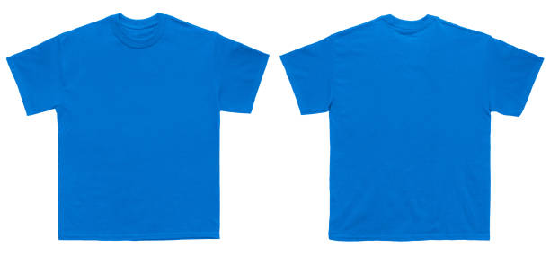 Blank T Shirt color royal blue template front and back view stock photo