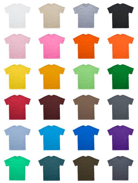 plantilla el conjunto de colores de camiseta en blanco - moda playera fotografías e imágenes de stock